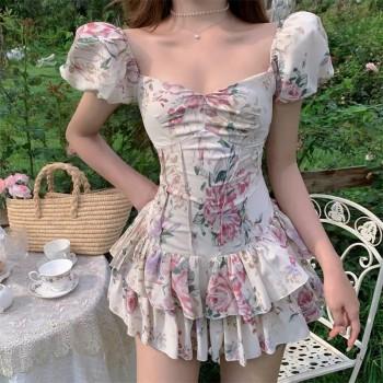 Vestido francês floral cute